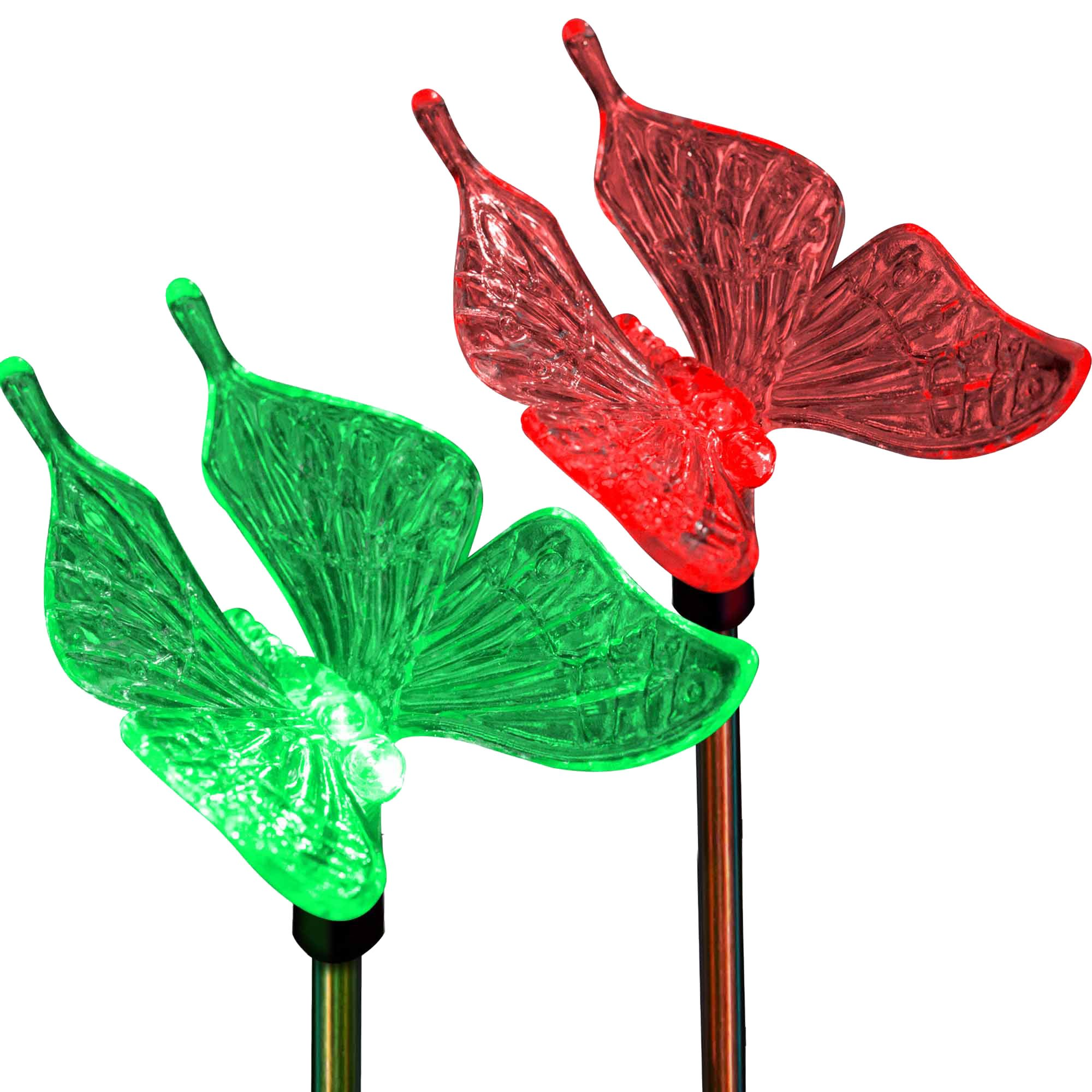 Butterfly Decor Outdoor Holiday LED Lighting Solar Garden Stake Lights Color Changing in-Ground 3D Fixture for Christmas Thanksgiving Patio Yard Lawn Decoration (2 Pack)