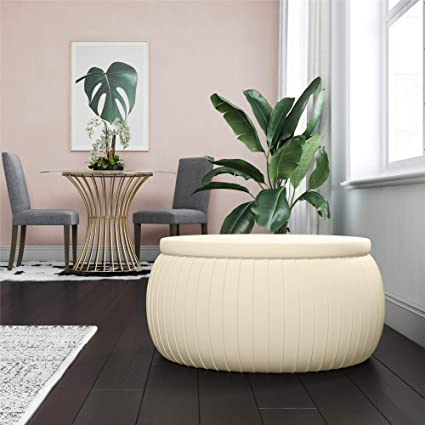 Pleasant Cosmoliving Sapphire Modern Storage Ottoman Coffee Table With Pleated Cream Velvet Fabric Caraccident5 Cool Chair Designs And Ideas Caraccident5Info