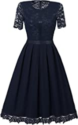 Viwenni Women's Vintage Floral Lace Knee Length Bridesmaid Swing Dress