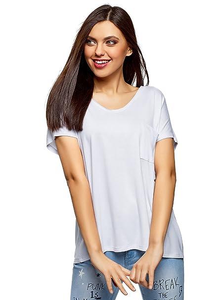 oodji Ultra Mujer Camiseta Holgada de Viscosa, Blanco, ES 34 / XXS
