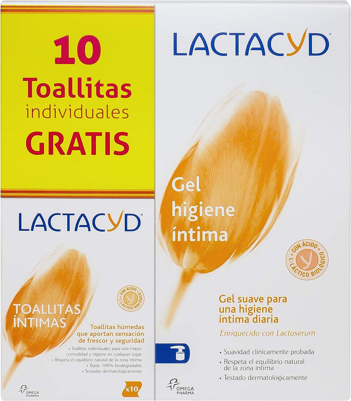 Gel de higiene íntima diario Lactacyd Íntimo 400 ml, pH equilibrado, sin jabón + Toallitas Individuales gratis.
