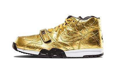 sale retailer d3c5d d2b78 Nike Air Trainer 1 PRM QS (NFL) 840169-700 Metallic Gold Black Superbowl