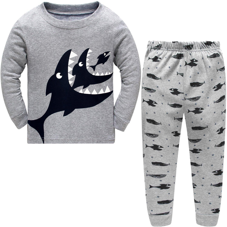 DAWILS Pijama para Niños - Manga Larga - Pijama Dos Piezas - Gris Tiburón Pjs 2-7 años: Amazon.es: Ropa y accesorios