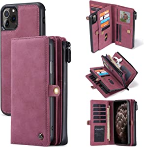Caseme iPhone 11 Detachable Wallet Leather Case Minimalist Zipper 18 Credit Card Holder Cash Clip Magnetic Wrist Strap Wristlet iPhone 11 Pocket Purse Flip Cover for Man Women (Purple, iPhone 11)