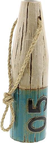 Deco 79 56754 Ceramic and Jute Rope Cylindrical Buoy Vase, 14 x 4 , White Blue Black
