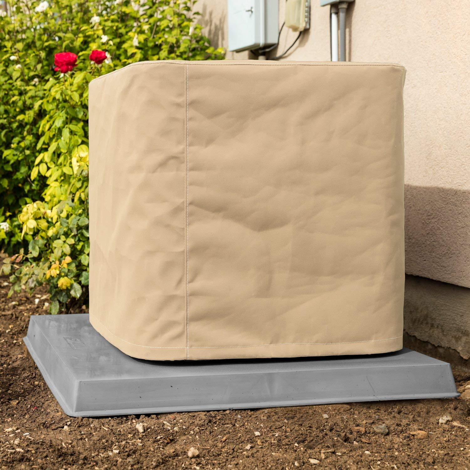 SugarHouse Outdoor Air Conditioner Cover - Premium Marine Canvas - Made in the USA - 5-Year Warranty - 24'' x 24'' x 28'' - Tan