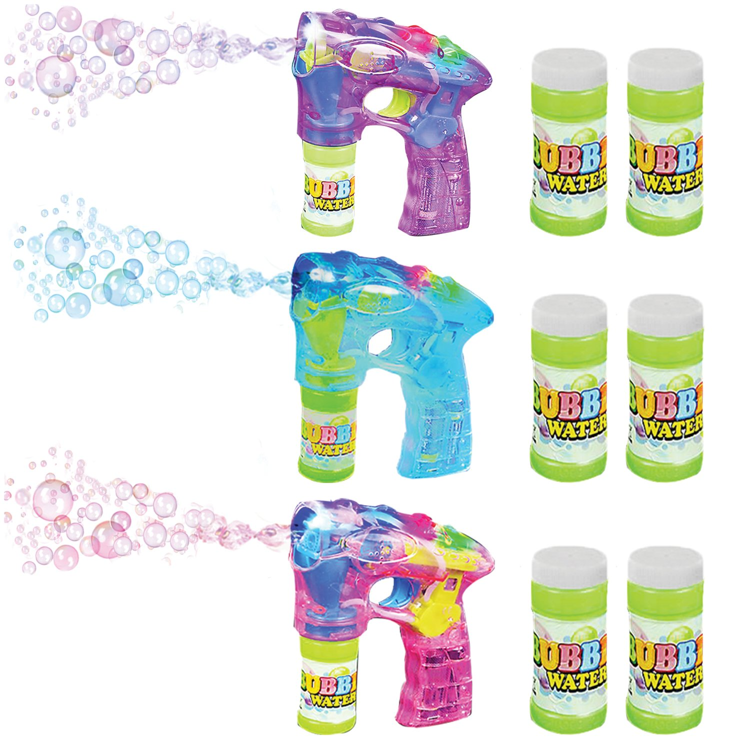 """ArtCreativity Blue, Pink & Purple Bubble Blaster Set with LED Light Up and Sound, by Includes 7"""" bubble guns & 6 Bottles of Bubbles, Party Favors (Batteries Included)"""