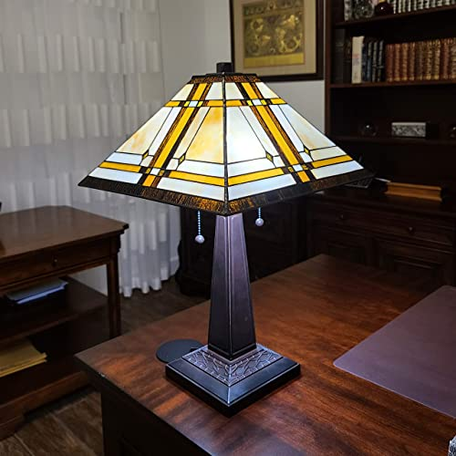 Amora Lighting Tiffany Style Table Lamp Banker Mission 22″ Tall Stained Glass White Tan Brown Antique Vintage Light Decor Nightstand Living Room Bedroom Handmade Gift AM1053TL14