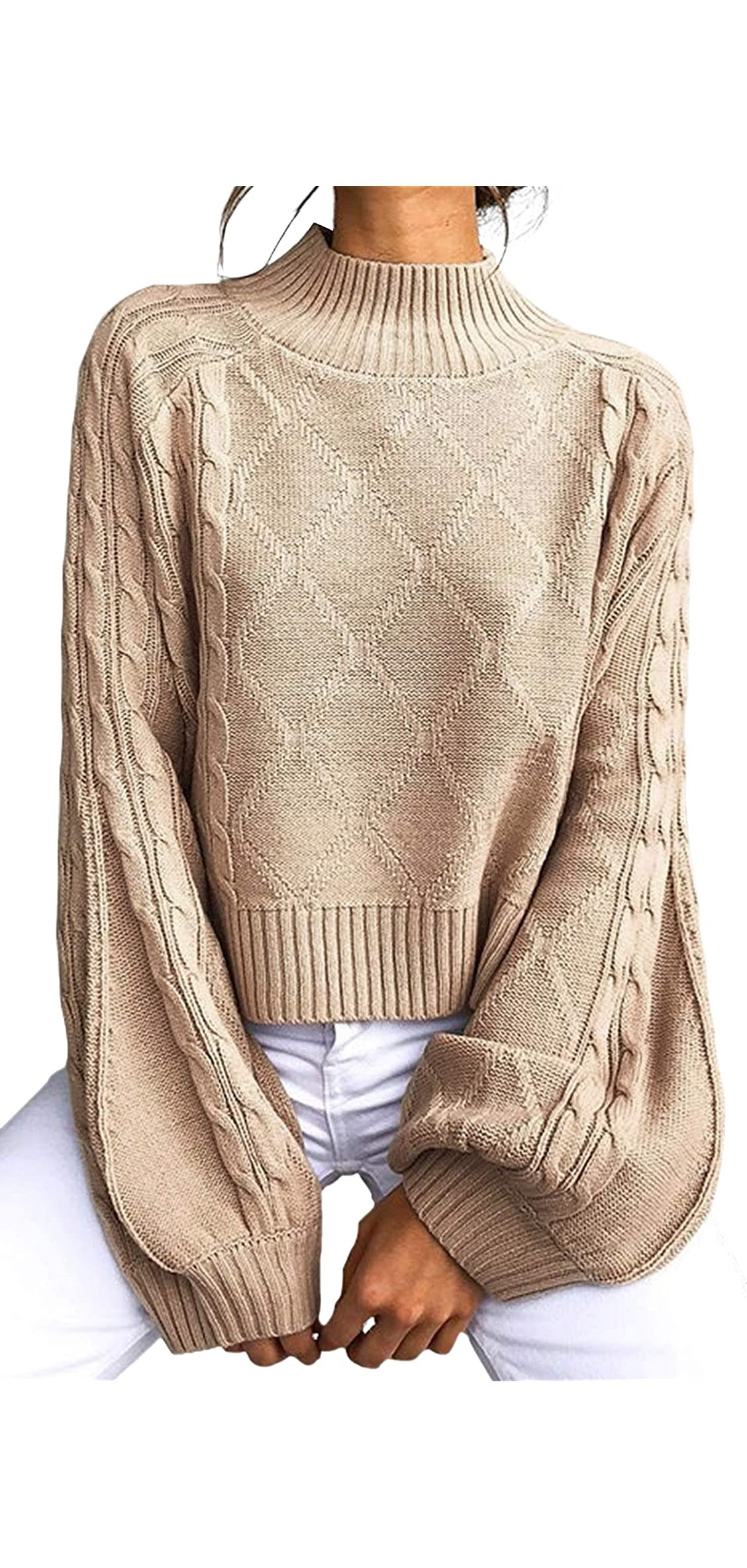 Women's Casual Loose Long Sleeve Mock Turtleneck Cable