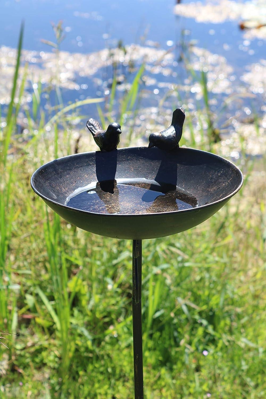 AmaCasa Vogeltr/änke Vogelbad Vogelbecken Wassertr/änke Tr/änke Wasserschale Stecker Grau Eisen