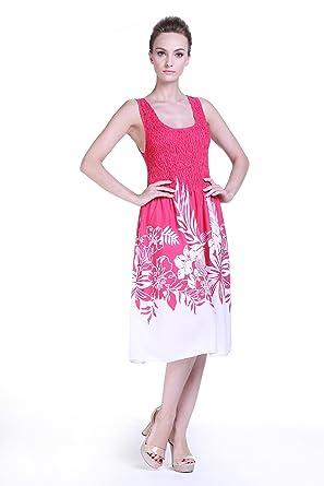 Tropical Group Womens Hawaiian Tank Elastic Luau Dress Indri Pink