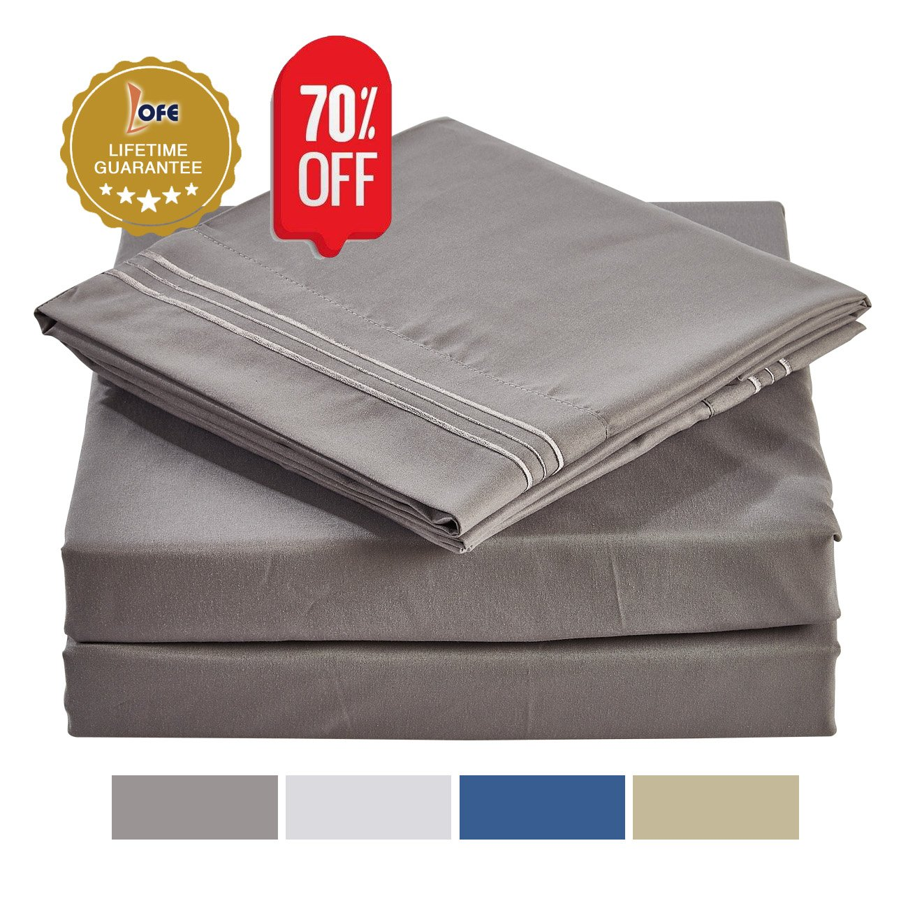 Queen Size Bed Sheets Set Gray, Bedding Sheets Set on Amazon, 4-Piece Bed Set, Deep Pockets Fitted Sheet, 100% Luxury Soft Microfiber, Hypoallergenic, Cool & Breathable