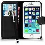 Apple iPhone 5 / 5S - Prämie Leder SCHWARZ Brieftasche Flip Fall hülle mit Groß Tippen Sie auf Stift Bildschirmschutz & Poliertuch