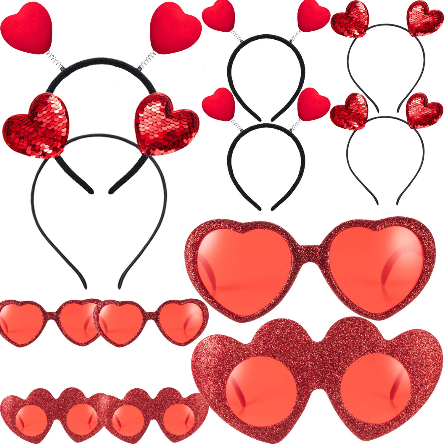 Skylety 12 Pieces Valentines Head Boppers and Red Heart Glasses for Girls Women, Heart Headbands for Valentine Party Props Accessory Holiday by Skylety