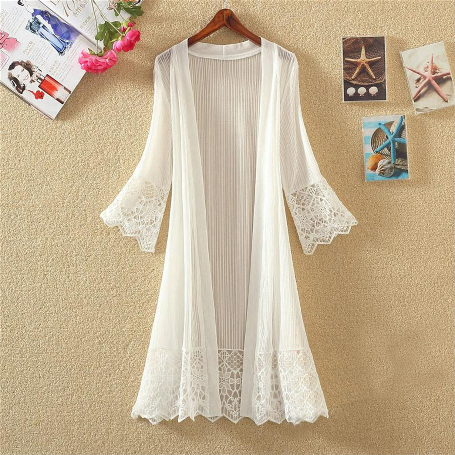 Jiushiaini Lace Jacket New Spring Summer White Black Perspective Loose Thin Outwear Fashion Sleeves Casual Coat Plus Size at Amazon Womens Clothing store: