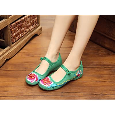 &hua Chaussures brodées fines, semelle de tendon, style ethnique, chaussures féminines, mode, confortable, chaussures de toile