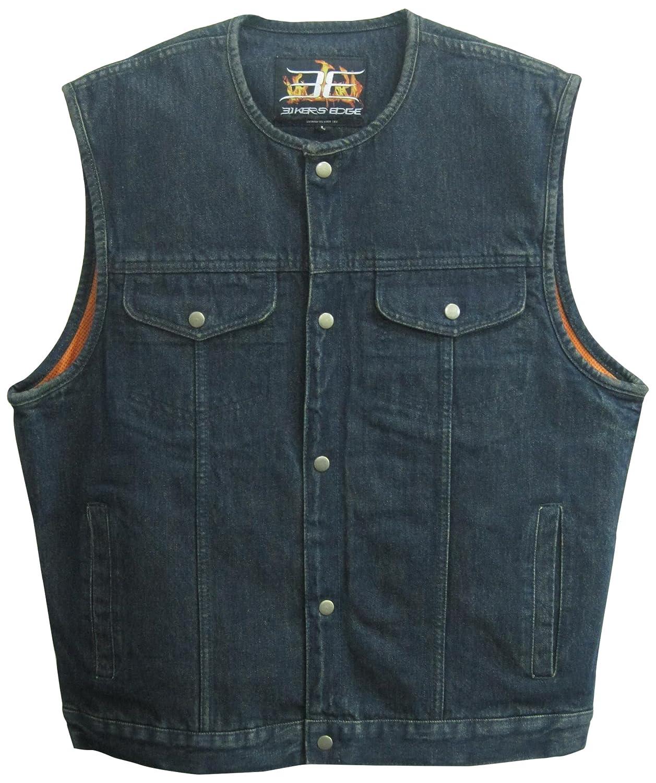 Bikers Edge Mens Denim Collarless Club Style Vest Blue, X-Large Biker/'s Edge DM1937-XL-BLUE