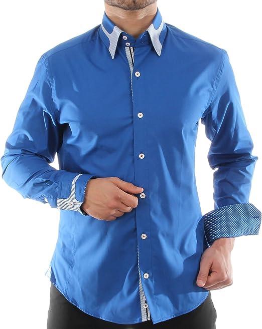 Slim Fit Tiempo Libre Camisa En Color Azul, para hombre mejor ...