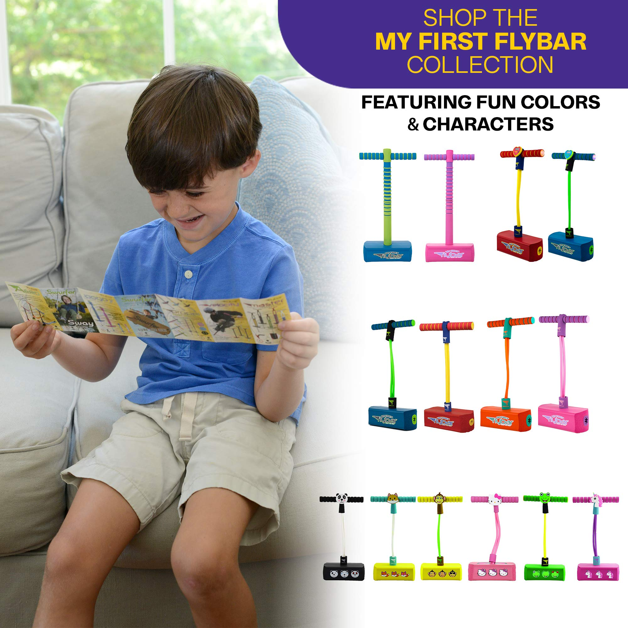 Flybar My First Jump and Squeak Mini Pogo Stick, for Ages 3 and up Toddler Toys, Supports up to 250lbs (Pink) by Flybar