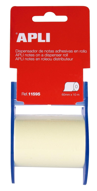 APLI 11595 - Rollo de notas adhesivas (60 mm x 10 m), color amarillo: Amazon.es: Oficina y papelería