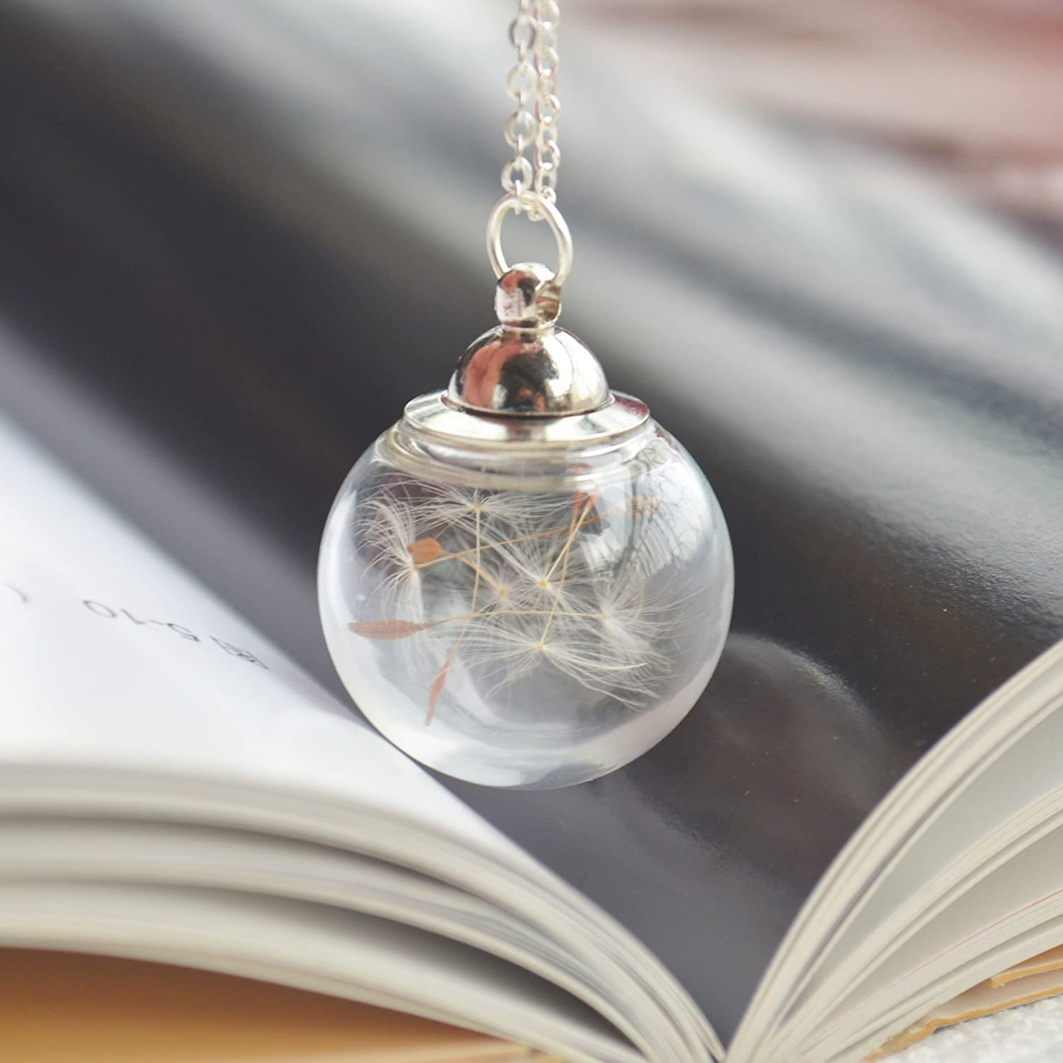 Dandelion Make a Wish Real Flower Open Screw Thread Big Glass Ball 925 Sterling Silver Necklace 17.7 Length