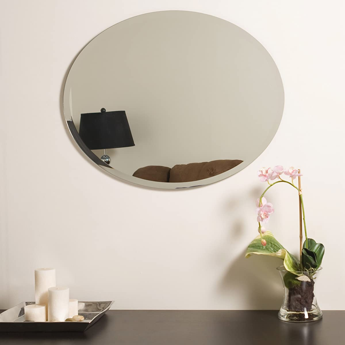 Decor Wonderland Odelia Oval Bevel Frameless Wall Mirror