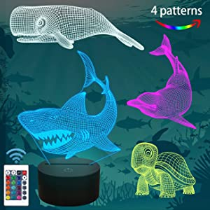 FULLOSUN Shark Gifts, 3D Shark Night Light for Kids (4 Patterns) with Remote Control 16 Colors Changing Dimmable Function, Xmas Birthday Gifts for Kids Child (Shark, Whale, Turtle, Dolphin)