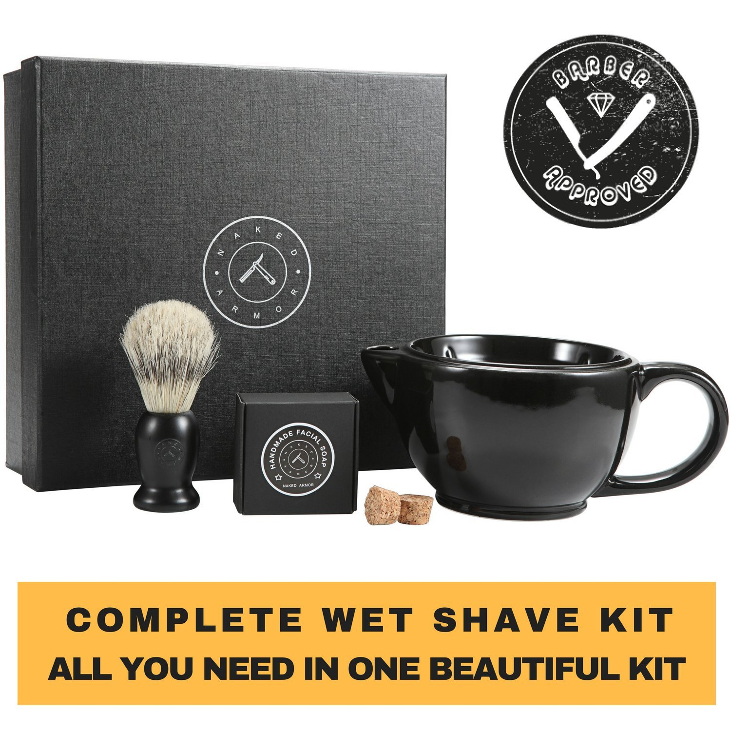 Naked Armor Savanna Shaving Scuttle Mug - Mens Shaving Bowl Set Create Rich Shaving Cream Warmer Keep Your Lather Hot Shaving Mug Brush & Soap Included. Handmade Pottery ~ Your Face Will Sing Shave Like King