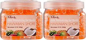 Clear Air Odor Eliminator Gel Beads - Air Freshener - Eliminates Odors in Bathrooms, Cars, Boats, RVs and Pet Areas - Made with Natural Essential Oils - Hawaiian Shore Scent - 2 Pack (2 x 12 OZ)