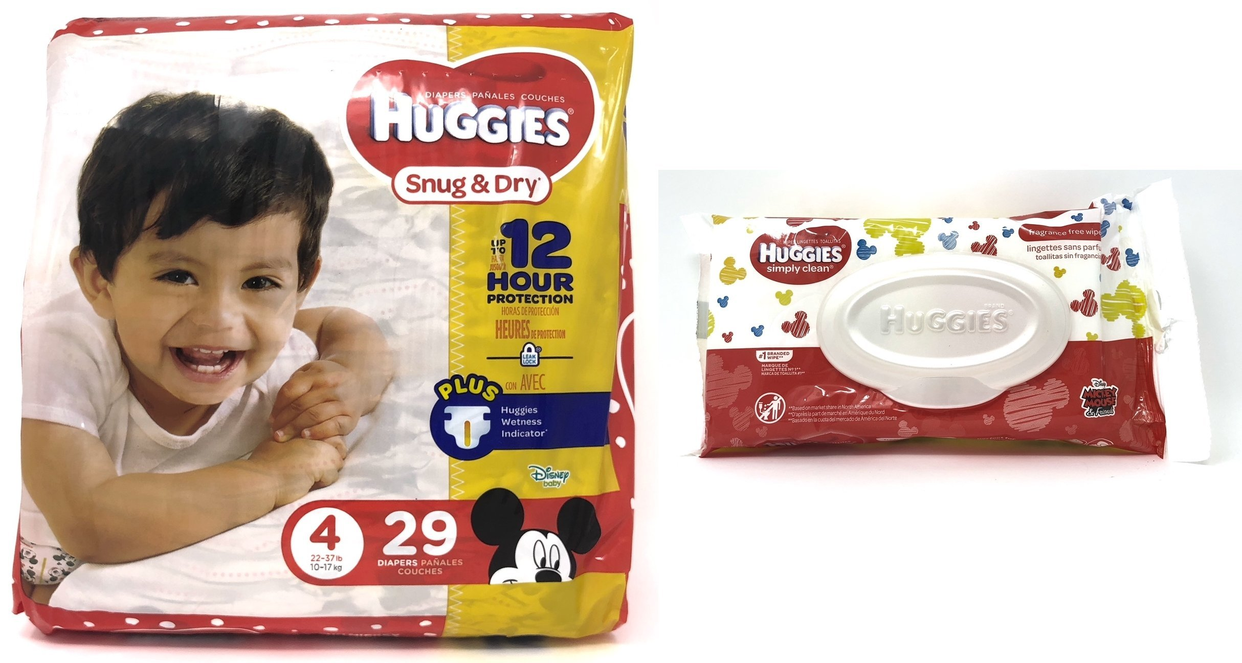 Diaper/Baby Wipe Travel Pack Bundle | Includes Huggies Snug & Dry Size 4 (29 Count) and Simply Clean Baby Wipes Resealable Container (32 Count)