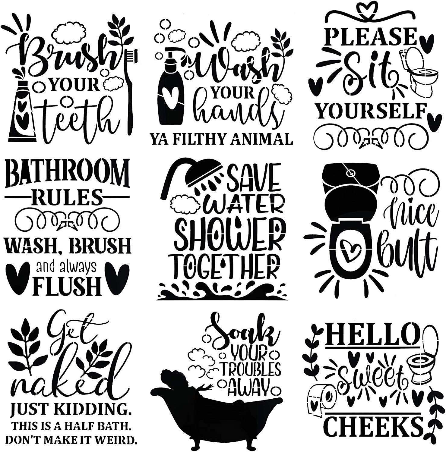 Zonon 9 Pieces Bathroom Decoration Stencils Funny Bathroom Wall Art Molds Toilet Quotes and Sayings Prints Sign Templates for Bathroom Home Wall Decor, 9 x 9 Inch