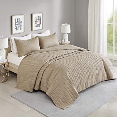 Comfort Spaces Kienna 3 Piece Quilt Coverlet Bedspread All Season Lightweight Filling Stitched Bedding Set, Oversized Queen, Taupe