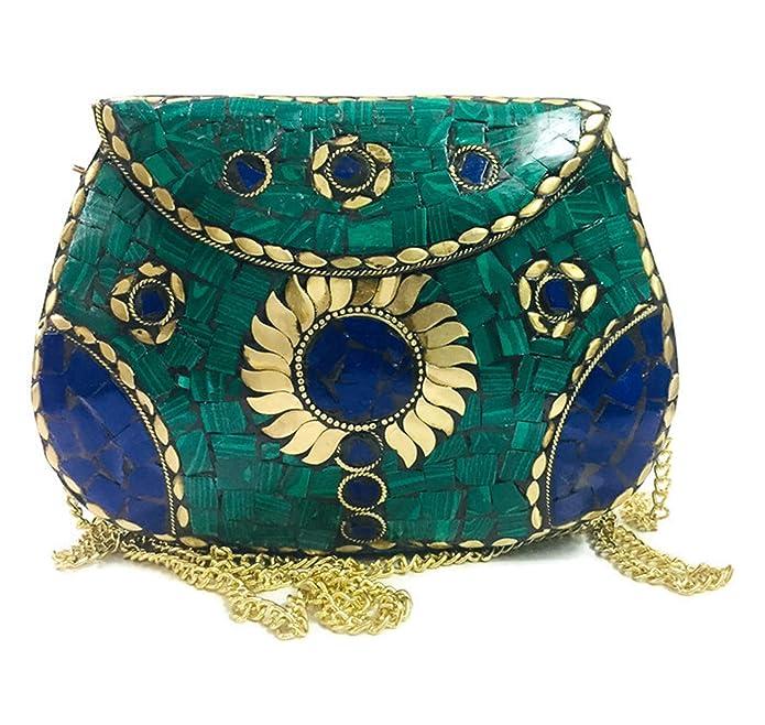 Vintage Handbags, Purses, Bags *New* Turquoise Clutch Women Bridal clutch girls marriage clutch mosaic metal bag antique ethnic clutch Indian purse $30.00 AT vintagedancer.com
