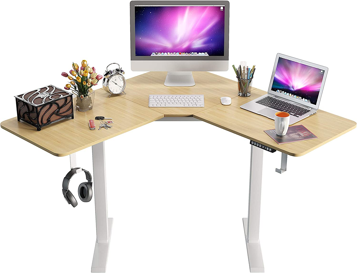 L-Shaped Standing Desk,Height Adjustable Electric Corner Desk,48 Inches Home Office Table with Splice Board,Dual Motor Home Office Desks White Frame (Natural)