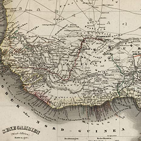 Map Of Africa 1850.Amazon Com West Africa Senegambia Guinea Slave Ivory Gold Coast
