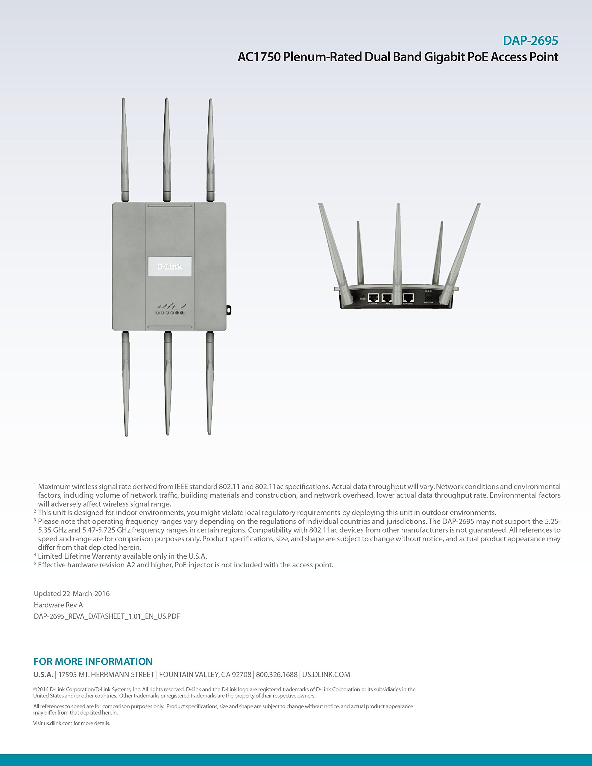 D-Link Systems Wireless AC1750 Simultaneous Dual Band Plenum-Rated PoE Access Point (DAP-2695) by D-Link (Image #11)