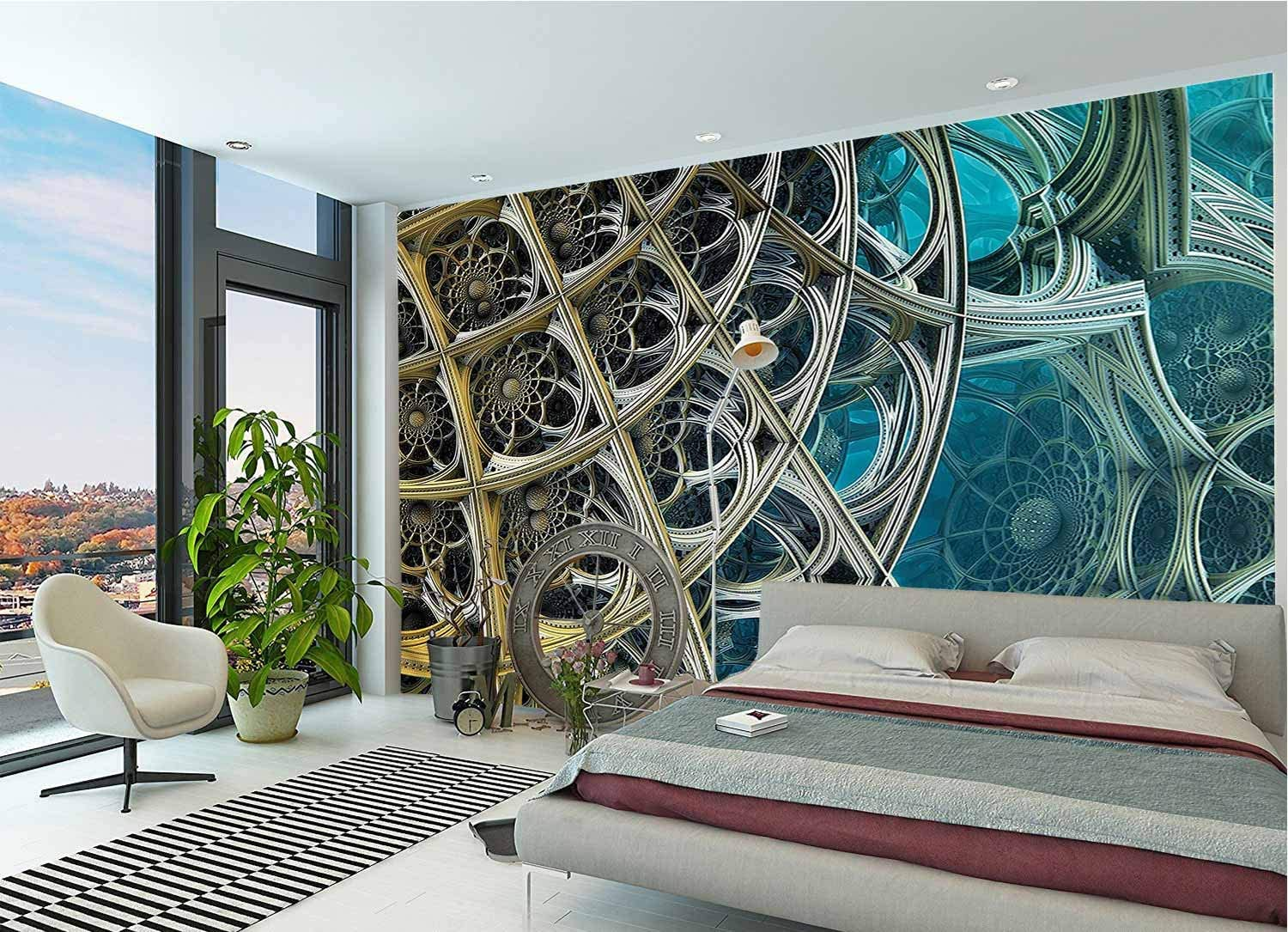 LCGGDB Fractal Wall Stickers Murals,Floral Themed Figures Paperhanging Wallpaper for Office Livingroom Girls Bedroom Family Wall Decals-118x83 Inch