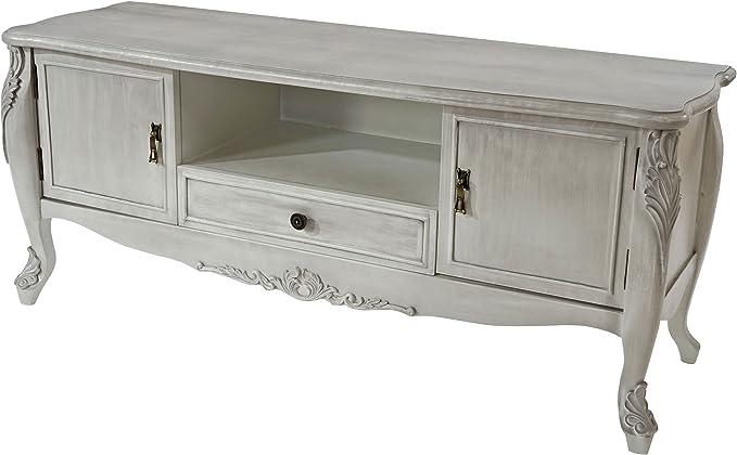 TV-estante de barletta, de televisor de lámpara de mesa, de estilo barroco y 54 x 122 x 42 cm~antigua de estilo antiguo-de colour blanco: Amazon.es: Hogar