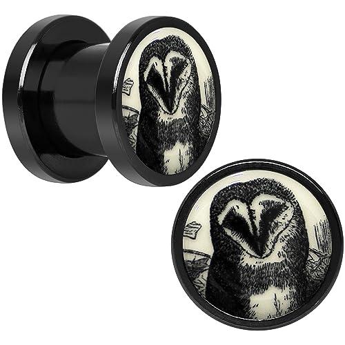 BodyCandy Cuerpo Caramelo Negro Anodizado Acero Dibujo Búho brilla en la oscuridad Dilatador Ajuste Rosca Par 0 Calibre: Amazon.es: Joyería