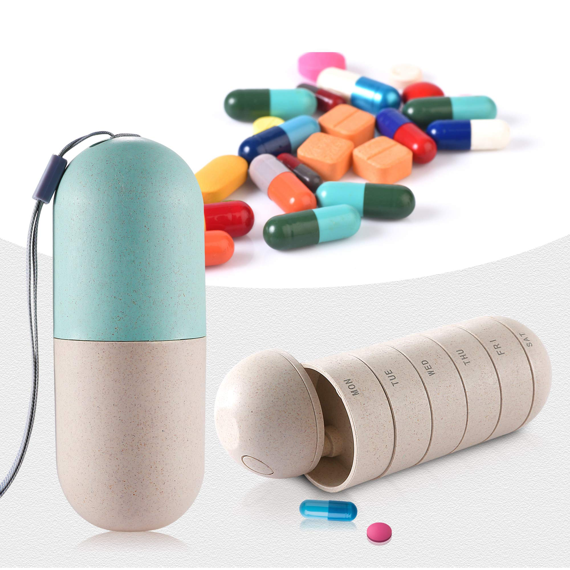 Zannaki Grain Fiber Portable Weekly Pill Organizer, BPA Free Travel Camping 7 Day Pill Box Case with Unique Water and Moisture Proof Design to Hold Vitamins, Cod Liver Oil, Supplements and Medication by Zannaki (Image #4)