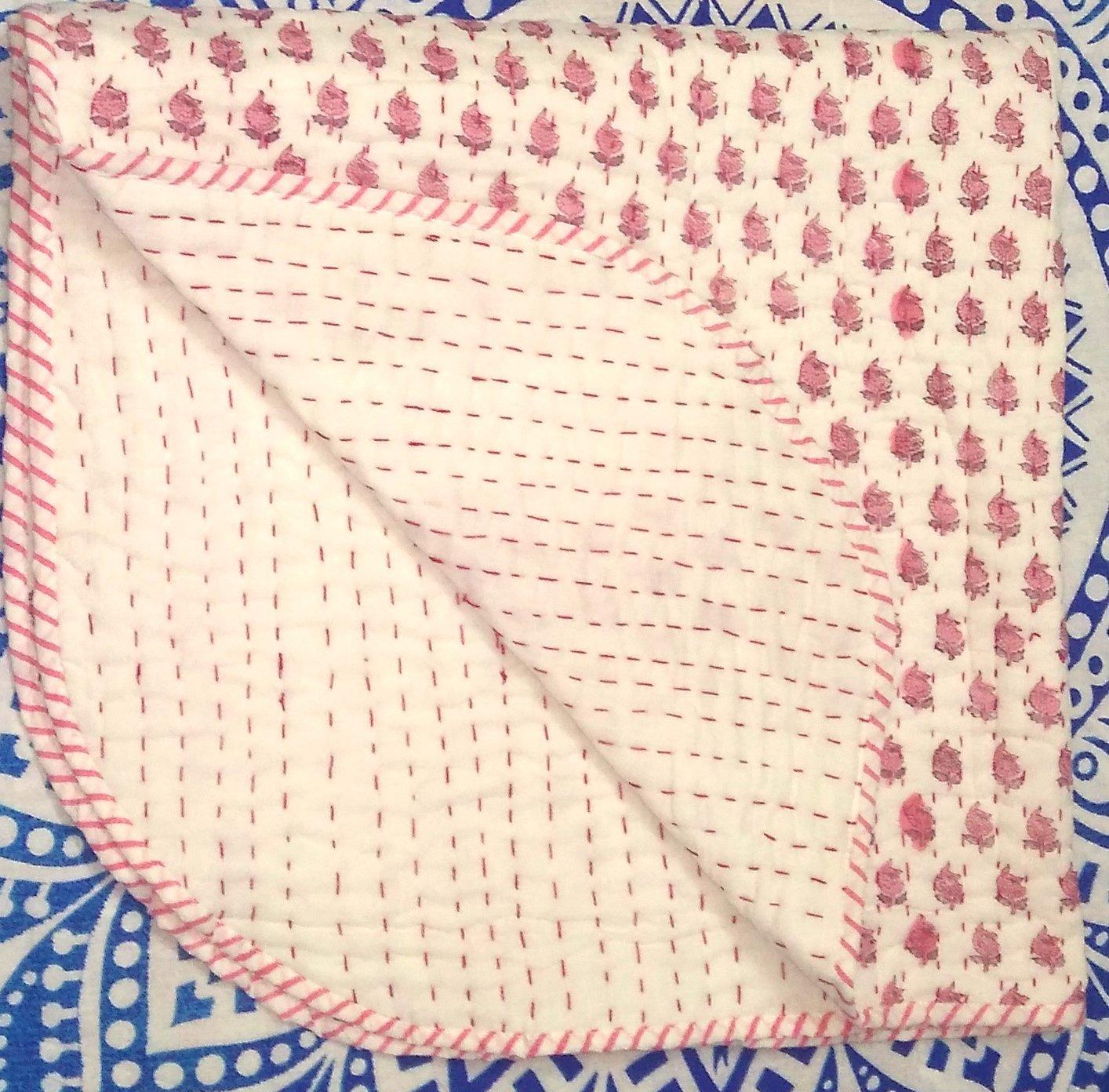 Indian Block Print Fabric Baby Quilt, Kantha Throw, Cotton Fabric Kids Bedding, Bohemian Bedspread