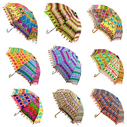 Lal Haveli Handmade Embroidery Design Cotton Umbrella Decorated 21 X 26 Inches Set of 10 Pcs