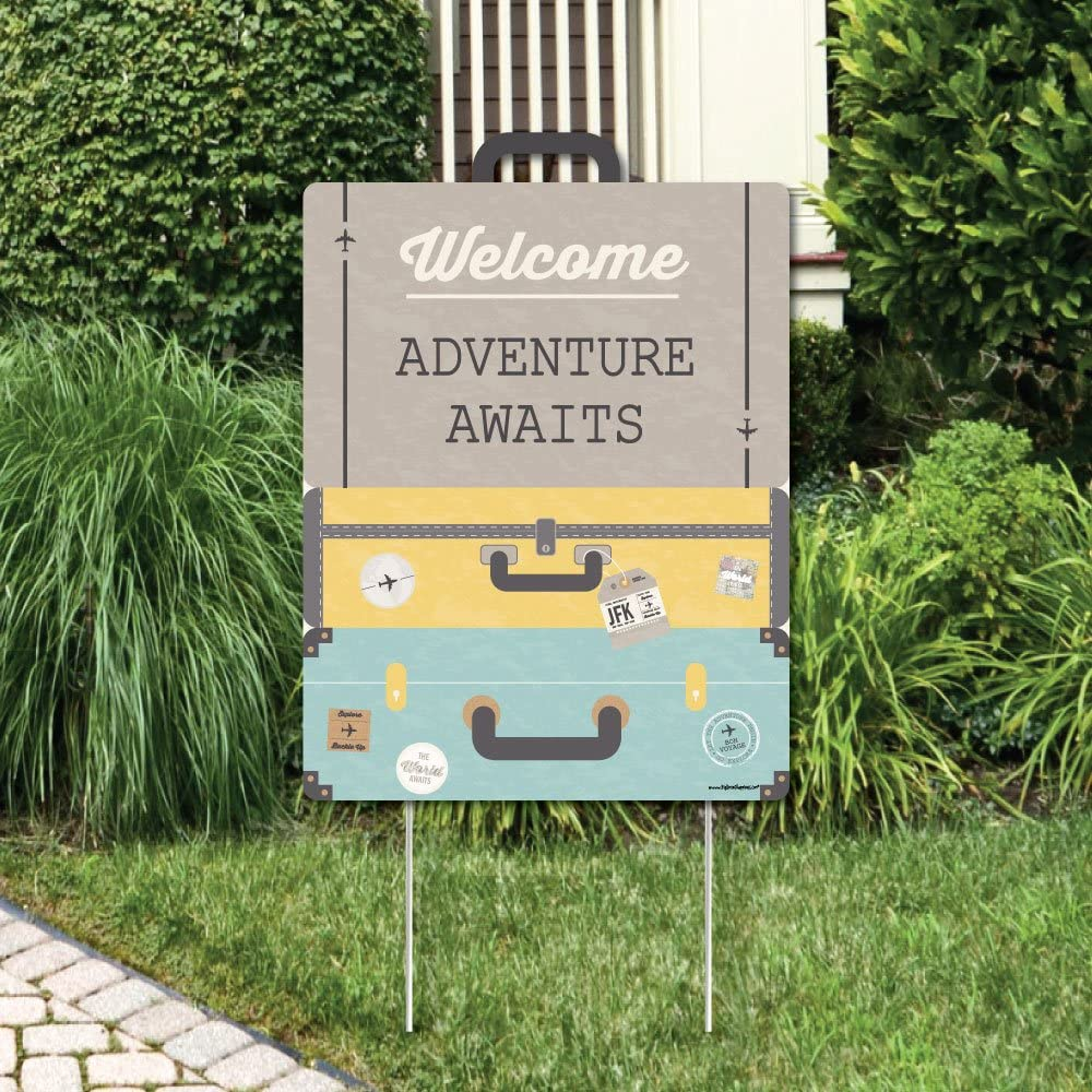 Big Dot of Happiness World Awaits - Party Decorations - Travel Themed Bridal Shower, Birthday or Retirement Party Welcome Yard Sign