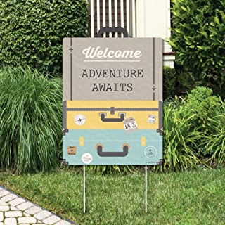 product image for Big Dot of Happiness World Awaits - Party Decorations - Travel Themed Bridal Shower, Birthday or Retirement Party Welcome Yard Sign