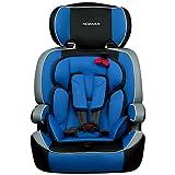 XOMAX XM-K4 + silla de coche para niños + Grupo I / II / III (9-36 kg) + ECE R44/04 tested + negro / gris / azul + Arnés de 5-puntos + reposacabezas ajustable + respaldo fijo + La tapa desmontable y lavable