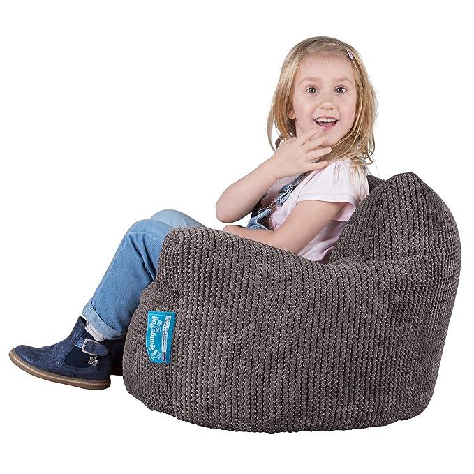 Lounge Pug®, Puff Sillón para niños, Pompón - Carbón Gris