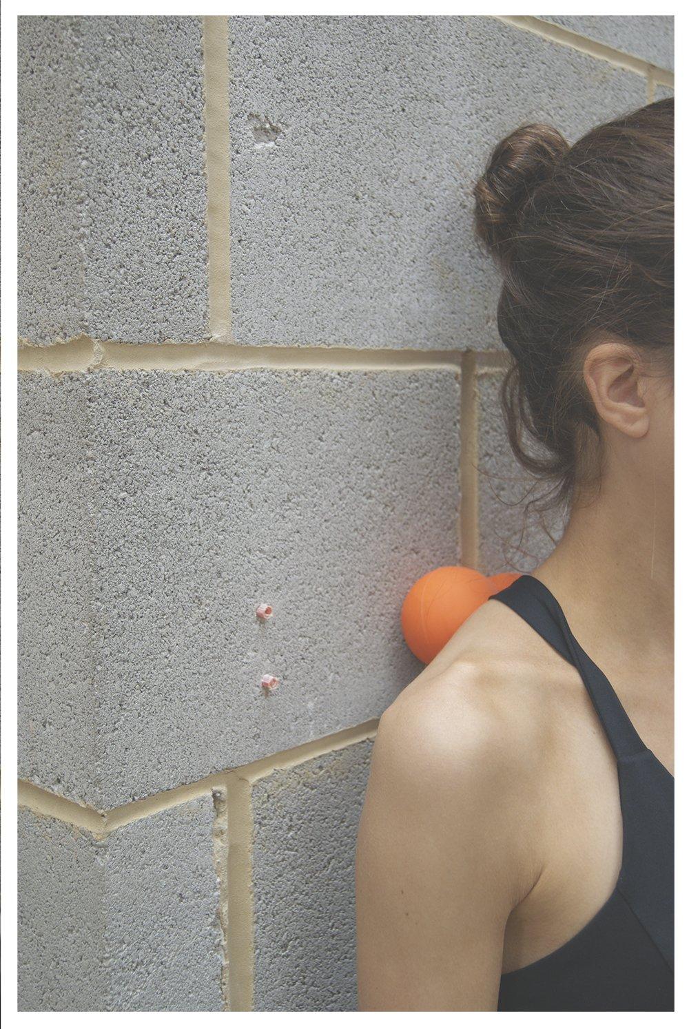 Protone doble lacrosse bola para puntos de activación masaje - rodillo de cacahuete herramienta para muscular profunda masaje - Negro