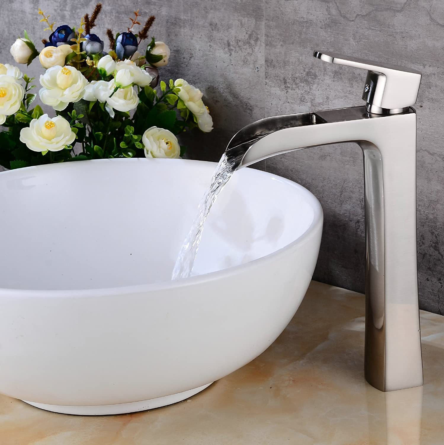 AOEIY Single Hole hot and Cold Modern Taps Kitchen Brass Faucet Bathroom Sink Basin Waterfall Tap Mixer Water Washroom Bath Tub Shower