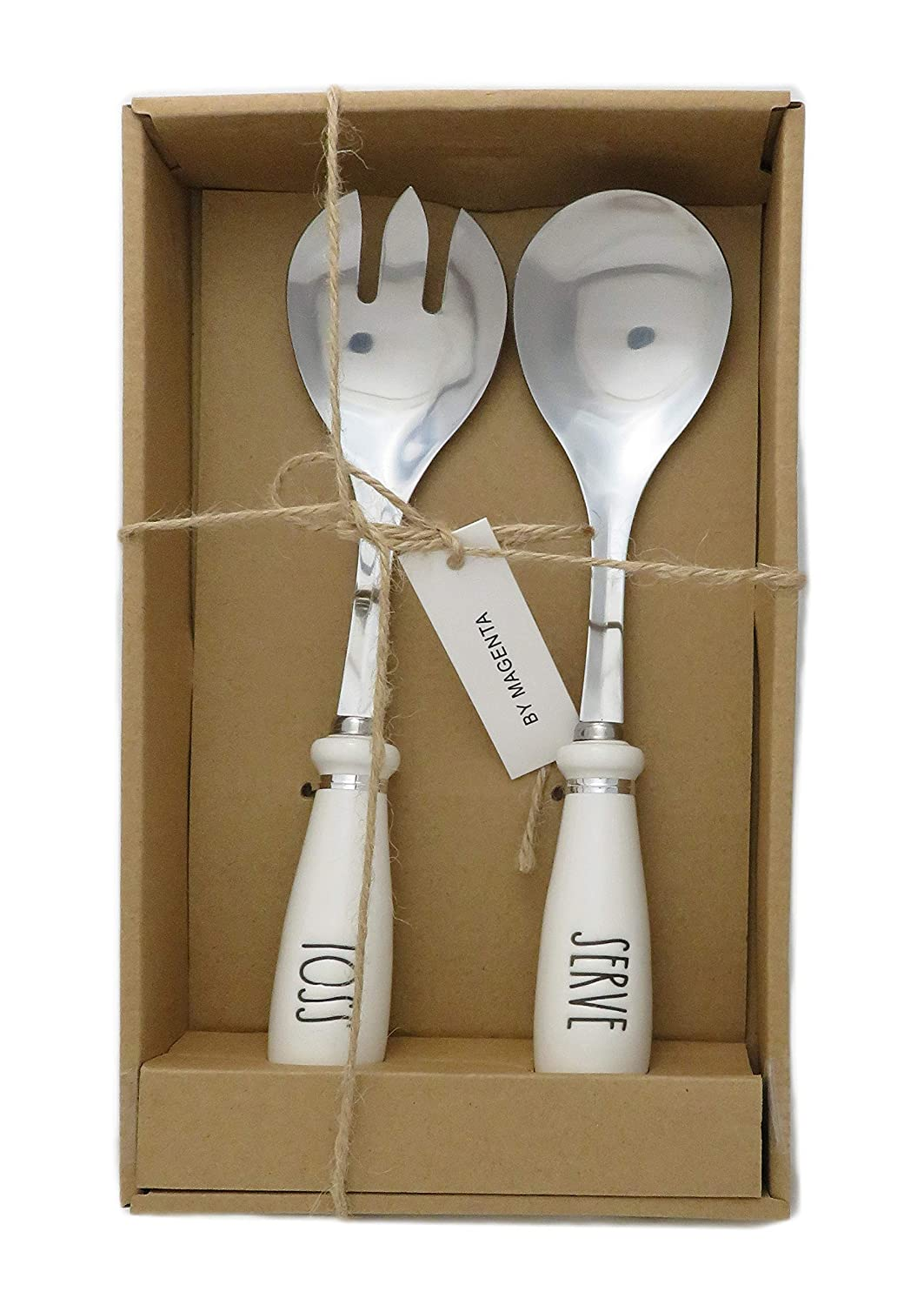 Rae Dunn By Magenta TOSS & SERVE Large Letter LL Spoon & Fork Serving Utensils With Ceramic Handles