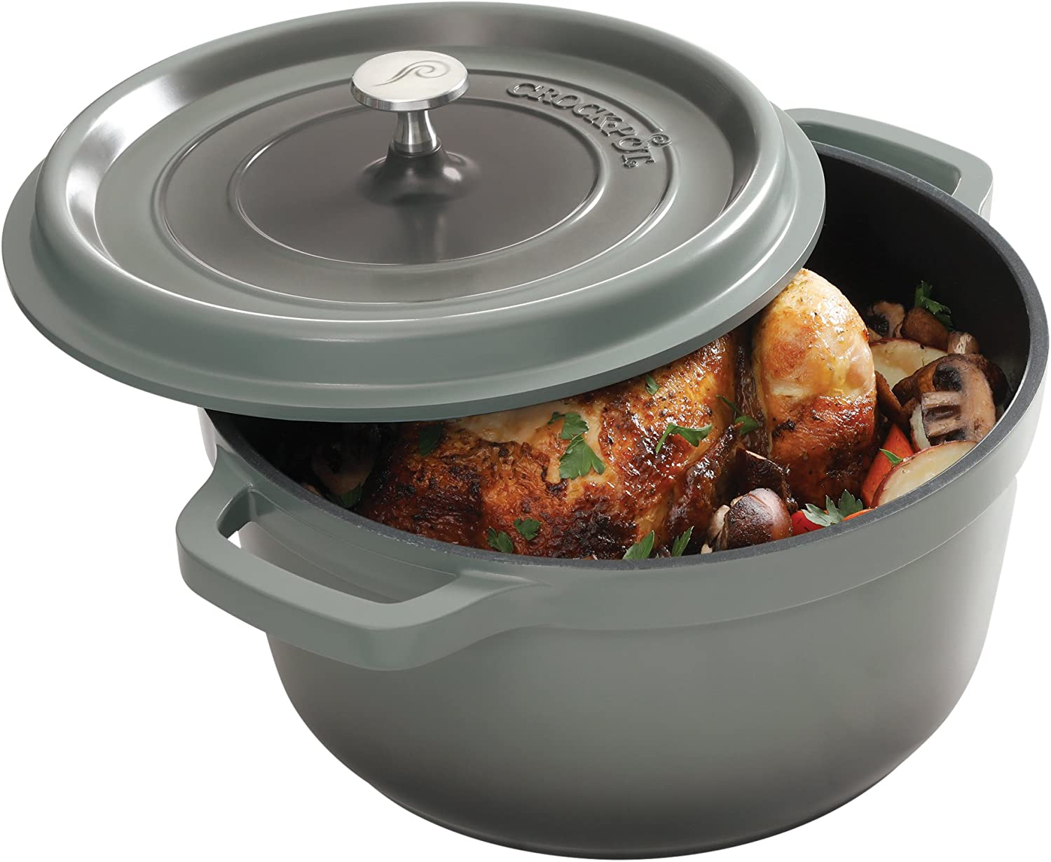 Crock Pot 79566.02 Edmound 5 Quart Cast Aluminum Dutch Oven with Lid, Gradient Grey